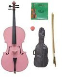 GRACE 4/4 Size Pink Cello with Bag and Bow+Rosin+Extra Set of Strings by Grace