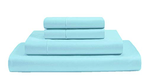 100% Organic Cotton 4 Piece Sheet Set 500 Thread Count GOTS Certified Premium Hotel Quality Bedding (Queen, Light Blue)