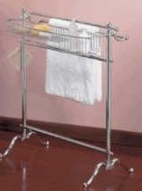 - Valsan 53516ES Dos Santos Free Standing Towel Holder W/ Basket in Satin Nickel