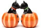Pacific Giftware Cat Pumpkins Magnetic Salt and Pepper Shakers, 3 1/2'' tall, Black