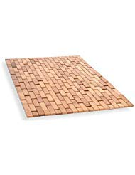 Natural Bamboo Wood Bath Mat: Wooden Door Mat/Kitchen Floor Rug - Bathroom Shower and Tub Mats (Wood Natural Bathroom Accessories)