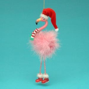 Pink Flamingo Santa Ornament (Pink Flamingo Santa)