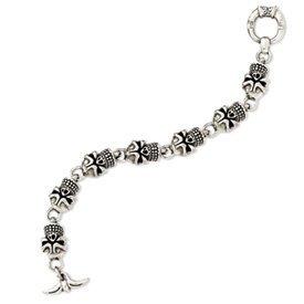 Sterling Silver Antiqued Skull Bracelet - 9 Inch - Toggle