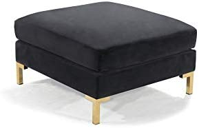Iconic Home Girardi Modular Chaise Ottoman Coffee Table Cushion Velvet Upholstered Solid Gold Tone Metal Y-Leg Modern Contemporary