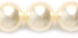 (Preciosa Ornela Imitation Round Glass Pearl, 10-mm, Cream, 50-Pack)