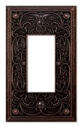 Filigree Single-GFI Switch Plate in Aged Bronze Antique Bronze Wall Plate