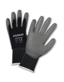 Radnor Glove Premium Large 15 Gauge Nylon Seamless Knit Gray Polyurethane Palm Knitwrist Black -1 Dozen Pairs