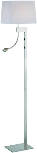 Lite Source LS-81016PS/WHT Fritzi Floor Lamp with Reading Light, Polished Steel with White Fabric Shade