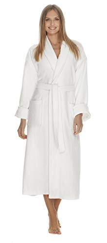 - Boca Terry Womens Robe - 100% Cotton Shawl Collar Velour Bathrobe for Women - Medium, Large - White