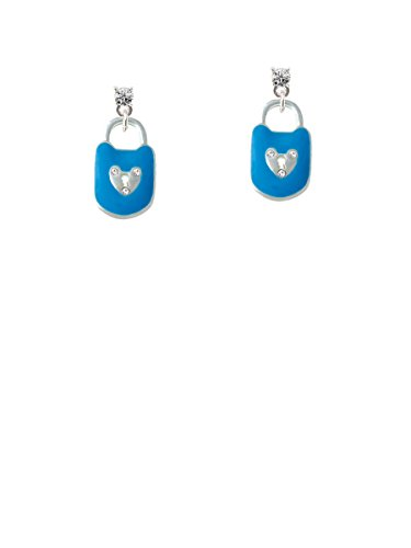Hot Blue Enamel Lock with Clear Crystals Clear Crystal Post Earrings