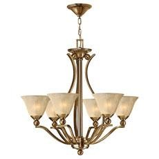 Bolla Transitional Chandelier - Hinkley 4656BR, Bolla Large Glass 1 Tier Chandelier Lighting, 6 Light, 600 Total Watts, Bronze