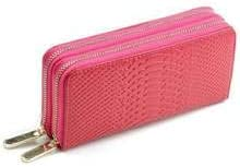 AMZER Genuine Leather Woman Dual Zipper Coin//Card Holder Purse//Wallet with Wristlet Strap Rose Red