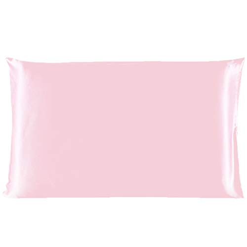 uxcell 100% Pure Mulberry Charmeuse Silk Pillowcase Pillow Case Cover for Hair & Skin 19 Momme/Travel Size 14x20 Inch/36x51cm Pink ()