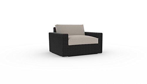 Cheap Toja Turo Outdoor Patio Chair | Wicker Rattan Body with Sunbrella Cushions (Half Round Wicker/Cast Ash)