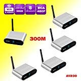 MEASY AV230-4 (1X4) 2.4G 8 Channel Wireless Video & Audio Sender Transmitter + 4 Receivers with IR Signal Back Control for Streaming Cable, Satellite, DVD to TV Wirelessly (300M/1000 Feet)