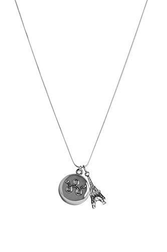 invisawear Smart Jewelry - Personal Safety Device - Silver Eiffel Tower Necklace