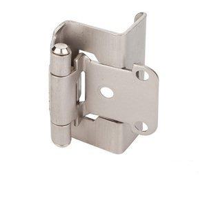 (KS) 25 Pack - Satin Nickel Full Wrap Self Closing Cabinet Hinge - 1/2