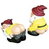 - Mooning & Squatting Garden Gnomes - Lawn Ornaments Set of 2