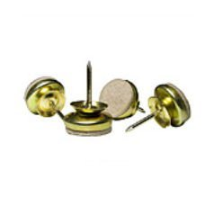 MADICO 23299 Super Feltac - 1 in. Round Nail-On Swivel Glides - Laminated Felt - Brass - 10 Packs