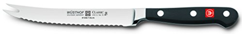 """Wusthof classic tomato knife, one size, black, stainless steel 1 wüsthof classic series – 5"""" tomato knife with serrated edge, fork tip, full tang triple riveted synthetic polypropylene handles that resist fading, discoloration, heat and impact. The wüsthof classic series has been our best-selling series for generations precision forged – wüsthof's classic series knives are forged from a single block of high carbon stainless steel and tempered to 58-degree hrc. The precision edge technology (petec) yields a blade that is 20% sharper with twice the edge retention than previous models vegetable knife - the classic 5"""" tomato knife has a serrated edge that enables the blade to slice through tomatoes without damaging the delicate fruit inside. The fork tip is ideal for picking up the thinly sliced produce for serving. Much like a serrated utility knife, the tomato knife could also be used to cut citrus fruits or other small fruits and vegetables"""