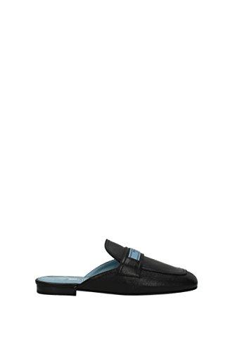 Prada Slippers and Clogs Women - Leather (1D4791GLACE) UK Black 14G1SeG