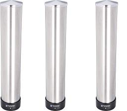 San Jamar C3400P 12-24 oz Stainless Steel Pull Type Beverage Cup Dispenser with Removable Cap (3-(Pack))