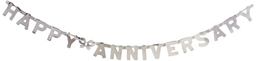 Beistle 55452-S Foil Happy Anniversary Streamer, 4-1/4-Inch by 6-Feet