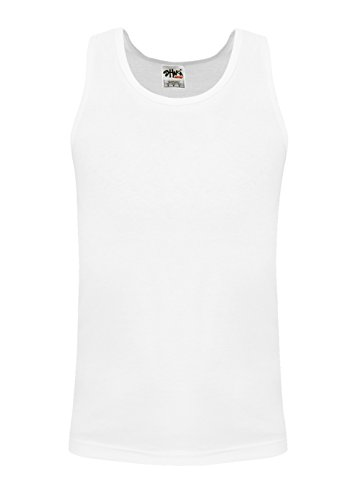 TT01_5X Active Mens Premium Cotton Basic Tank Top White 5X -