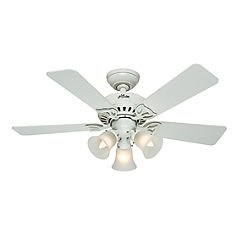 Hunter 53081 The Beacon Hill 42-Inch Ceiling Fan with Five White/Light Oak Blades with Light Kit, White