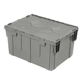 Gray Distribution Container With Hinged Lid 28-1/8x20-3/4x15-5/8