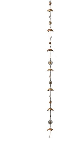 - Ancient Graffiti Flamed Copper Umbrella & Bells Rain Chain, 4
