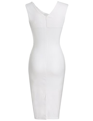 MUXXN Womens Vintage Low Cut Neck Package Hip Evening Party Dress (XL White )