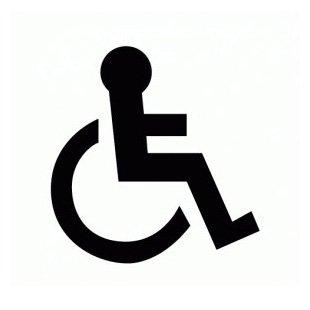 Silla de ruedas Símbolo solo - cartel para puerta - Autoadhesivo - PVC blanco - cuadrado 150 mm: Amazon.es: Oficina y papelería