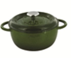 Fleur by Fontignac 2093210 Round Dutch Oven, 2.4-Quartz, Green