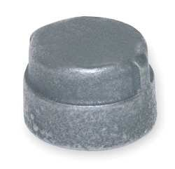 Industrial Grade 1LBR6 Cap, Galv Malleable Iron, 300 PSI, 2 In