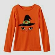 Girls Glitter Cat Halloween Shirt / Costume / Long Sleeve Graphic / Size 4 (Halloween Cat Whiskers)