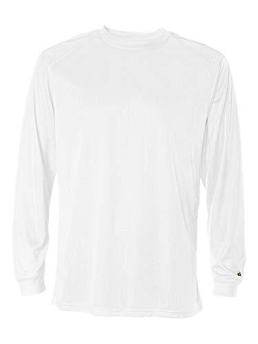 Badger Sportswear Men's B-Dry Long Sleeve Tee, White, Large -