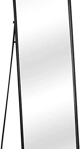 """Full Length Mirror 64""""x21"""" Standing, Wall Hanging, Vertical Black Frame HD Rectangle Full Body Tall Big Floor Stand up or Wall Mounted Mirror"""