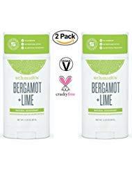 Schmidt's Deodorant Stick Bergamot + Lime 3.25 oz (Pack of 2) - Free of Aluminum, Vegan, Natural and Cruelty-Free