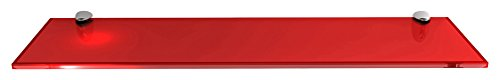 Fab Glass and Mirror S6x18RECR Rectangle Glass Shelf, 6 x 18 , Red