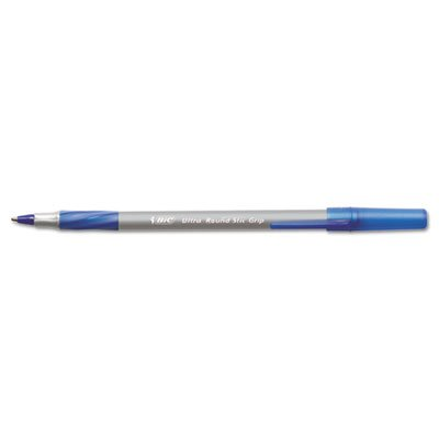 BIC Products - BIC - Ultra Round Stic Grip Ballpoint Stick Pen, Blue Ink, Medium, Dozen - Sold As 1 Dozen - Feather-light, ultra-smooth ballpoint pen. - Features BIC's exclusive ink system technology, Easy Glide Feel the Smoothness.TM - Contoured rubber g