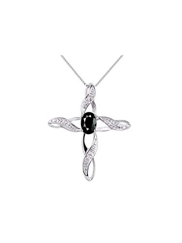 Diamond & Onyx Cross Pendant Necklace Set In 14K White Gold with 18