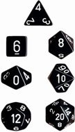 Chessex Dice: Polyhedral 7-Die Opaque Dice Set - Black with White Black & White Dice