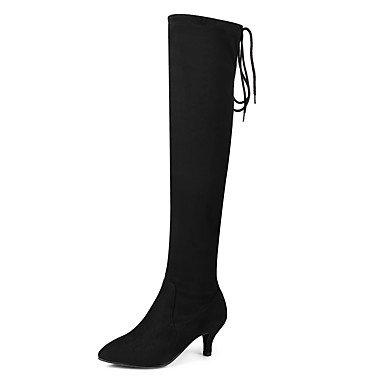 RTRY Zapatos De Mujer Spandex Cuero De Nubuck Moda Otoño Invierno Botas Botas Stiletto Talón Señaló La Convergencia Sobre La Rodilla Botas Lace-Up For Casual Negro Us6 / Ue36 / Uk4 / Cn36 US5 / EU35 / UK3 / CN34