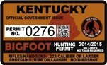 "Kentucky Bigfoot Hunting Permit 2.4"" x 4"" Decal Sticker"