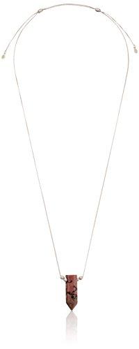 Alex and Ani Womens Rhodonite Pendant Pull Chain Necklace
