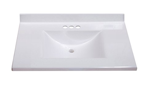 Imperial FW3122SPW Center Wave Bowl Bathroom Vanity Top, Solid White Gloss Finish, 31-Inch Wide by 22-Inch (22 White Vanity Top)