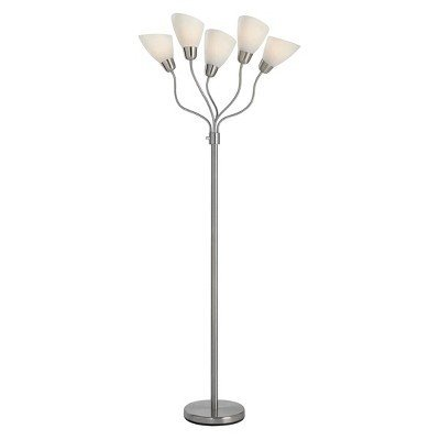 Amazon room essentials 5 head floor lamp with multiple room essentials 5 head floor lamp with multiple heads and adjustable shades silver finish mozeypictures Choice Image