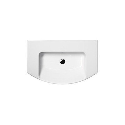 """Modo 31.5"""" Curved Ceramic Wall Mounted or Vessel Bathroom Sink with Overflow Faucet Mount: 8"""" Centers"""