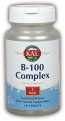 100 Mg 30ct Tablet - KAL B-100 Complex SR Tablets, 100 mg, 30 Count by Kal